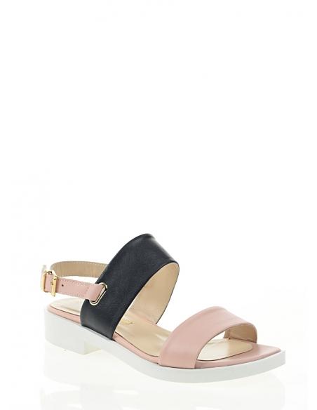 39223 Kadın Sandalet Pudra Lacivert Deri