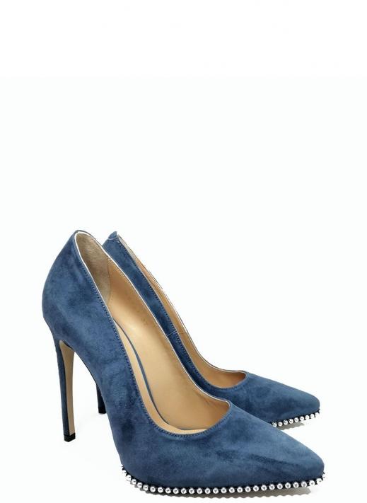 Angel Kadın Topuklu Ayakkabı Mavi Süet Deri