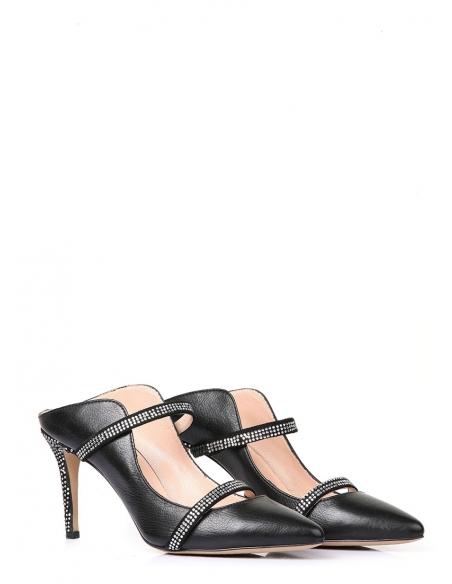 Mari Kadın Topuklu Ayakkabı Siyah Deri