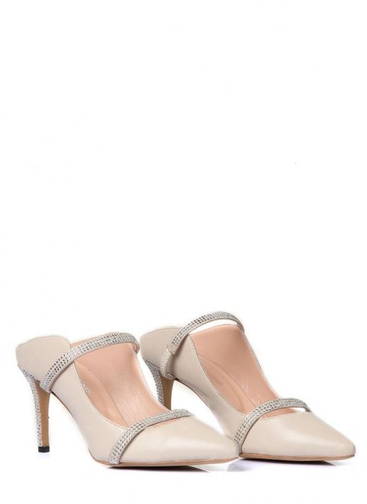 Mari Kadın Topuklu Ayakkabı Bej Deri