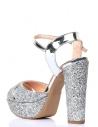 Bride Kadın Platfrom Topuklu Ayakkabı Gümüş Taşlı