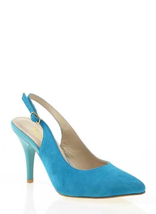 Anisa Kadın Topuklu Ayakkabı Mavi Süet