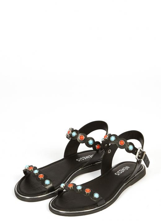 39371 Kadın Sandalet Siyah Deri