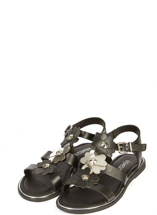 39376 Kadın Sandalet Siyah Deri