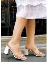 Alina Kadın Topuklu Terlik Beyaz